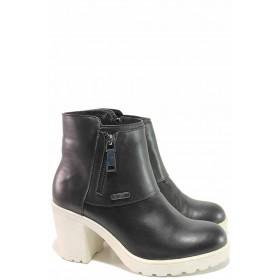 Дамски боти - естествена кожа - черни - EO-16635