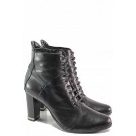 Дамски боти - естествена кожа - черни - EO-16620