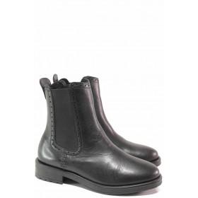 Дамски боти - естествена кожа - черни - EO-16617