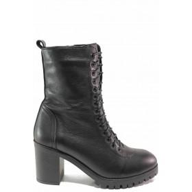 Дамски боти - естествена кожа - черни - EO-16619
