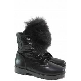 Дамски боти - естествена кожа - черни - EO-16535