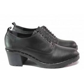 Дамски обувки на среден ток - естествена кожа - черни - EO-16563