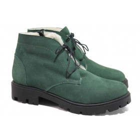 Дамски боти - естествен набук - зелени - EO-16517