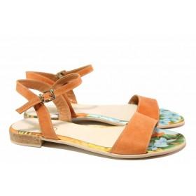 Дамски сандали - естествена кожа - оранжеви - EO-16643