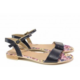 Дамски сандали - естествена кожа - сини - EO-16644