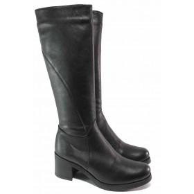 Дамски ботуши - естествена кожа - черни - EO-16652
