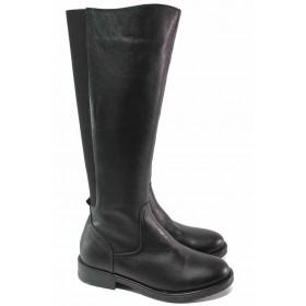 Дамски ботуши - естествена кожа - черни - EO-16667