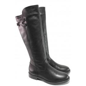Дамски ботуши - естествена кожа - черни - EO-16648