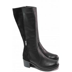 Дамски ботуши - естествена кожа - черни - EO-16658