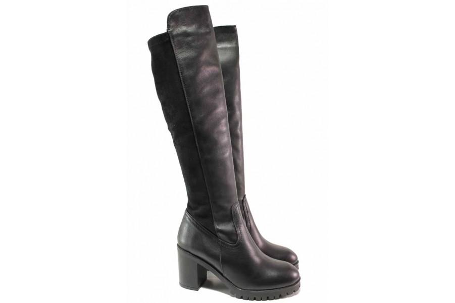 Дамски ботуши - естествена кожа - черни - EO-16671