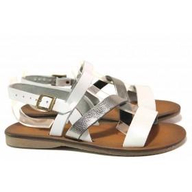 Дамски сандали - естествена кожа - бели - EO-16682