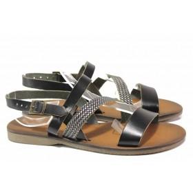 Дамски сандали - естествена кожа - черни - EO-16683