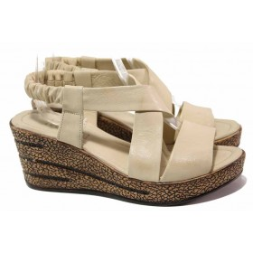 Дамски сандали - естествена кожа - бежови - EO-16684