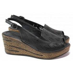 Дамски сандали - естествена кожа - черни - EO-16686