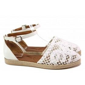 Дамски сандали - естествена кожа в съчетание с текстил - бели - EO-16689