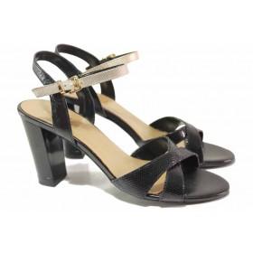 Дамски сандали - естествена кожа - черни - EO-16707