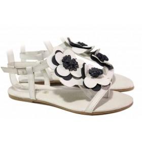 Дамски сандали - естествена кожа - бели - EO-16711