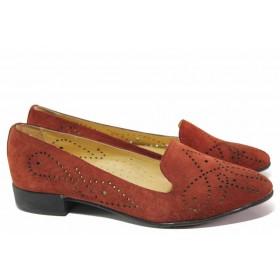 Равни дамски обувки - естествен велур - бордо - EO-16724