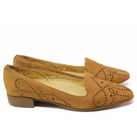 Равни дамски обувки - естествен набук - кафяви - EO-16723