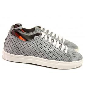 Равни дамски обувки - естествена кожа - сиви - EO-16730
