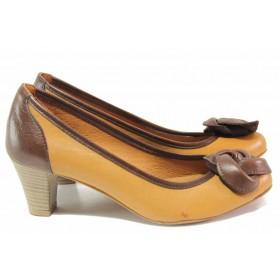 Дамски обувки на среден ток - естествена кожа - кафяви - EO-16727