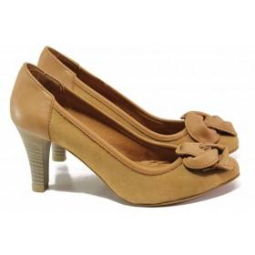 Дамски обувки на висок ток - естествена кожа - кафяви - EO-16728