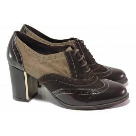 Дамски обувки на висок ток - естествен велур с естествен лак - кафяви - EO-16736