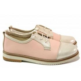 Равни дамски обувки - естествена кожа - розови - EO-16737