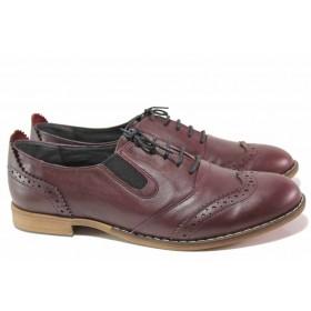 Равни дамски обувки - естествена кожа - бордо - EO-16732