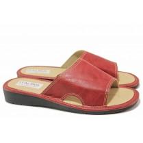 Дамски чехли - висококачествена еко-кожа - червени - EO-16744