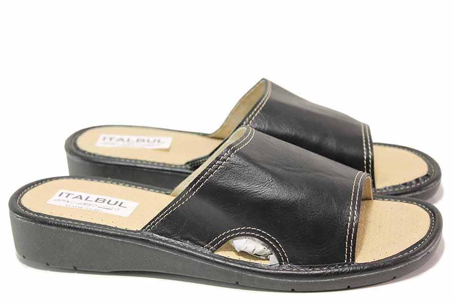 Дамски чехли - висококачествена еко-кожа - черни - EO-16747
