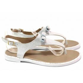 Дамски сандали - естествена кожа - сребро - EO-16766