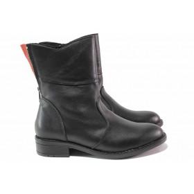 Дамски боти - естествена кожа - черни - EO-16834
