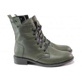 Дамски боти - естествена кожа - зелени - EO-16836