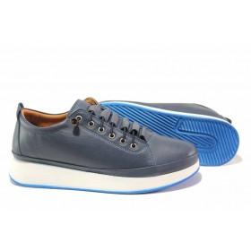 Равни дамски обувки - естествена кожа - тъмносин - EO-16948