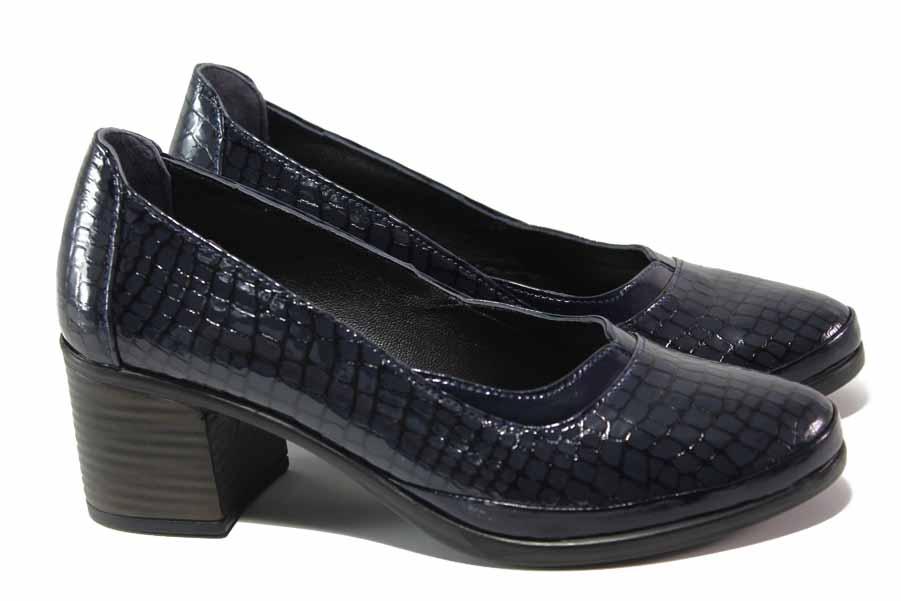 Дамски обувки на среден ток - естествена кожа-лак - тъмносин - EO-16951