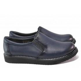 Равни дамски обувки - естествена кожа - сини - EO-16969