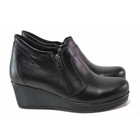 Дамски боти - естествена кожа - черни - EO-16971