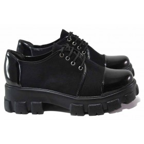 Равни дамски обувки - висококачествен еко-велур и еко кожа-лак - черни - EO-16983