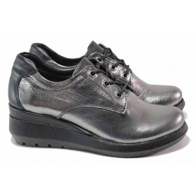 Дамски обувки на платформа - естествена кожа - сиви - EO-17033