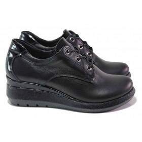 Дамски обувки на платформа - естествена кожа - черни - EO-17034