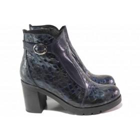 Дамски боти - естествена кожа-лак - сини - EO-17039