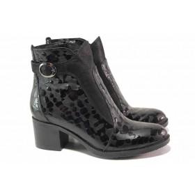 Дамски боти - естествена кожа-лак - черни - EO-17042
