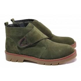 Дамски боти - естествен велур - зелени - EO-17044