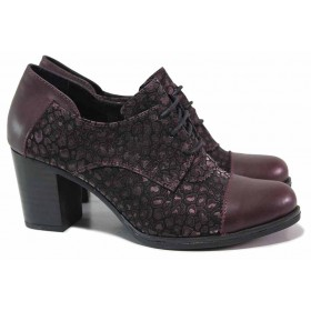 Дамски обувки на висок ток - естествена кожа с естествен велур - бордо - EO-17199
