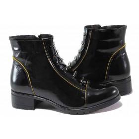 Дамски боти - естествена кожа-лак - черни - EO-17355