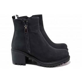 Дамски боти - висококачествена еко-кожа - черни - EO-17435
