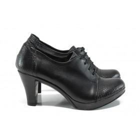 Дамски обувки на висок ток - естествена кожа - черни - EO-16085