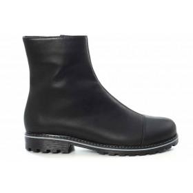 Дамски боти - естествена кожа - черни - EO-16900