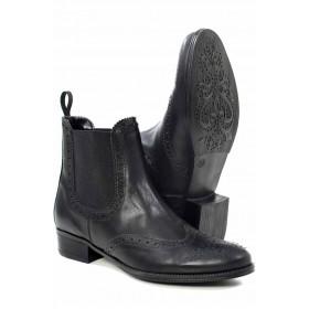 Дамски боти - естествена кожа - черни - EO-16899